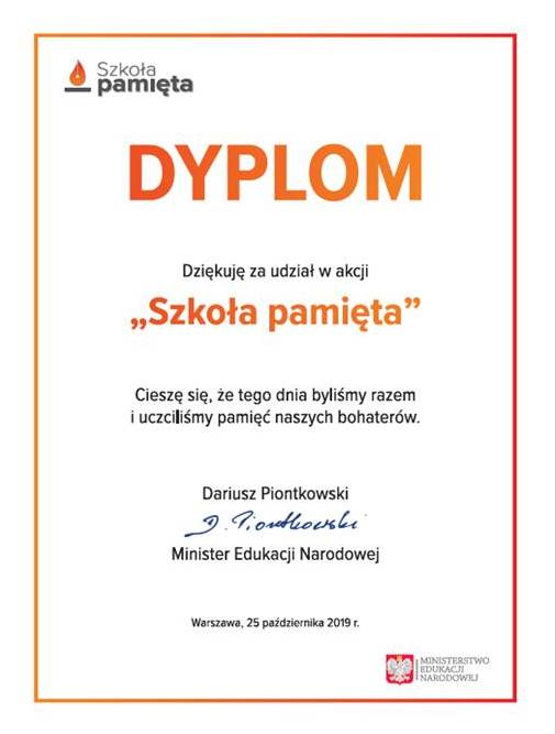 Dyplom Akcji Szkoła Pamięta